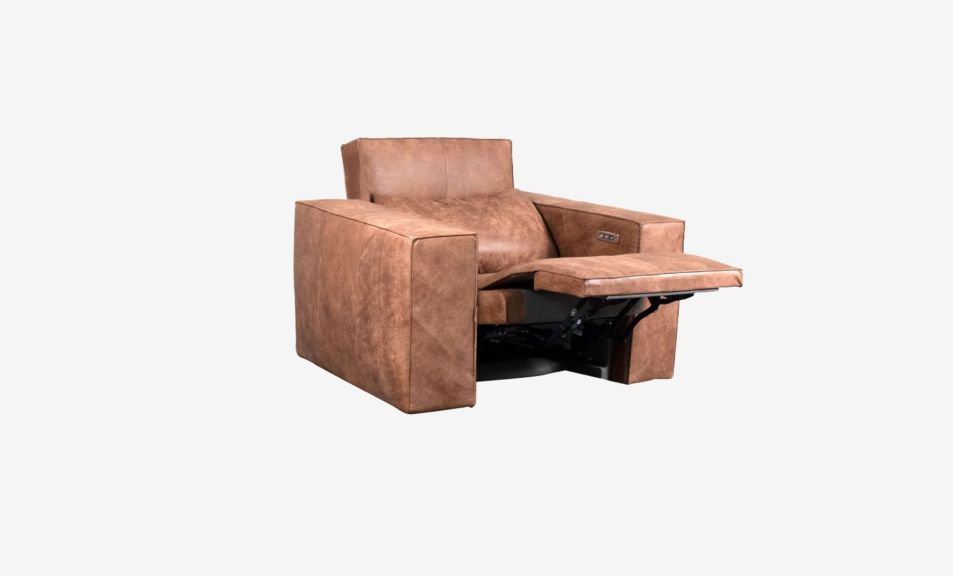 Beaumont 1 Seater Recliner Sofa - Leather - Satine Natural Brown