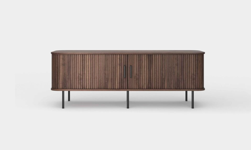 Ipanema is a sophisticated Wood TV Console with accordion doors and a mid-century modern design(front closed door)