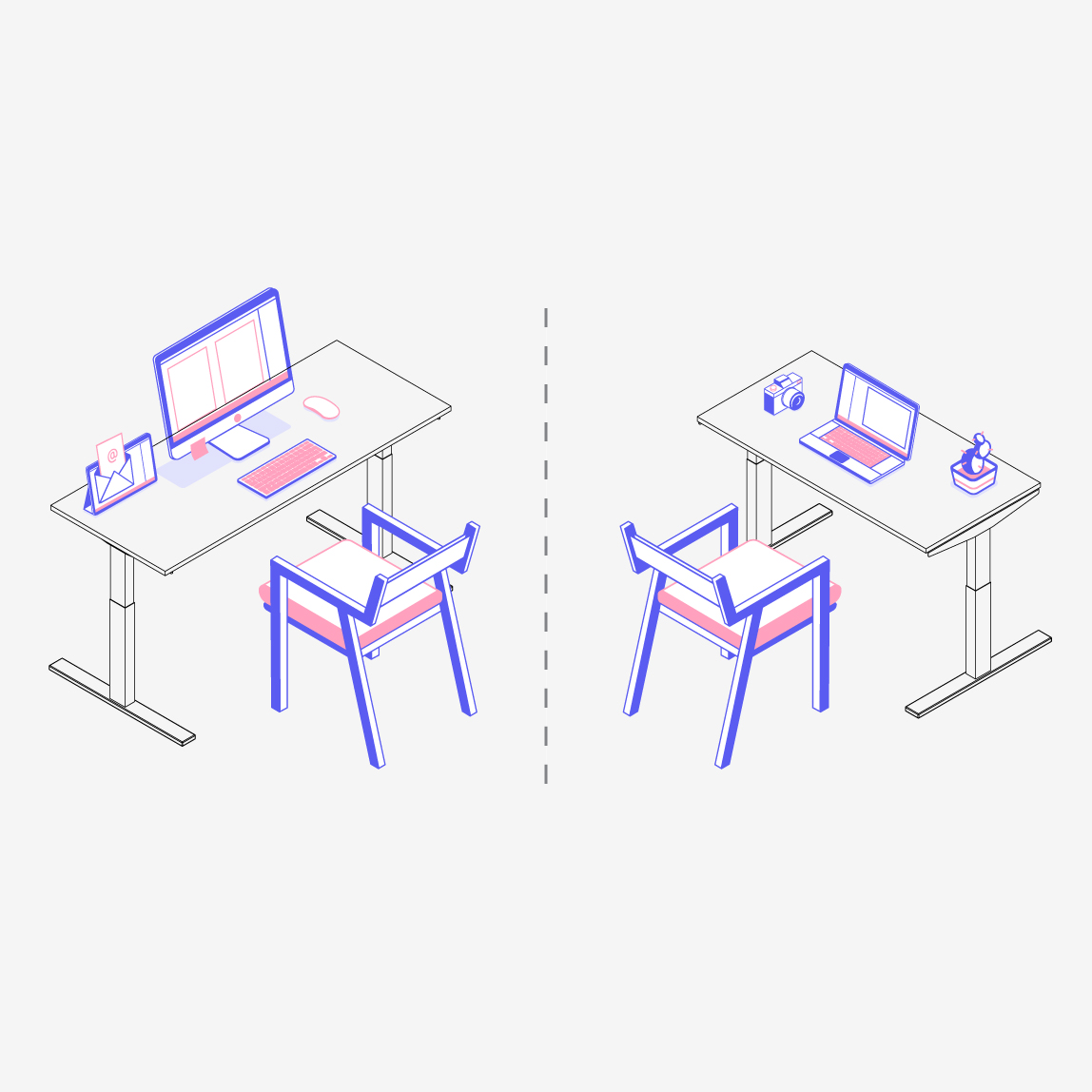 Grey & Sanders Standing desk sitting position diagram with left: Desktop layout, and right: Laptop layout