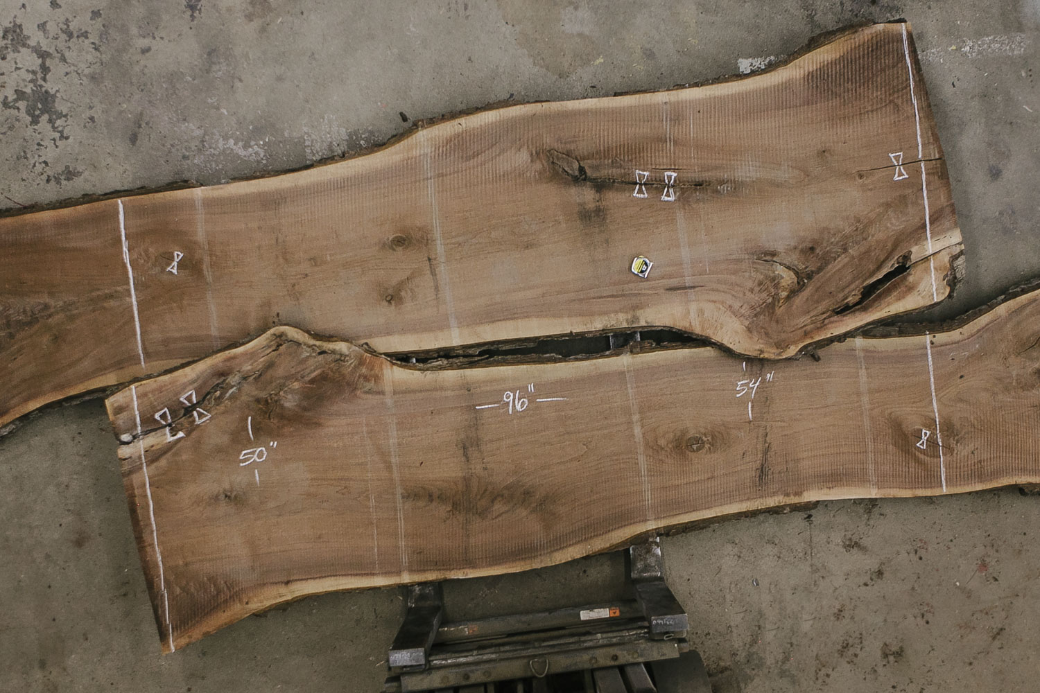 2 pieces of raw untreated wood slab