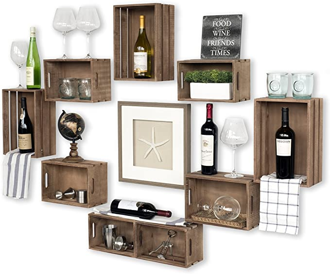 crates in the wall as decor