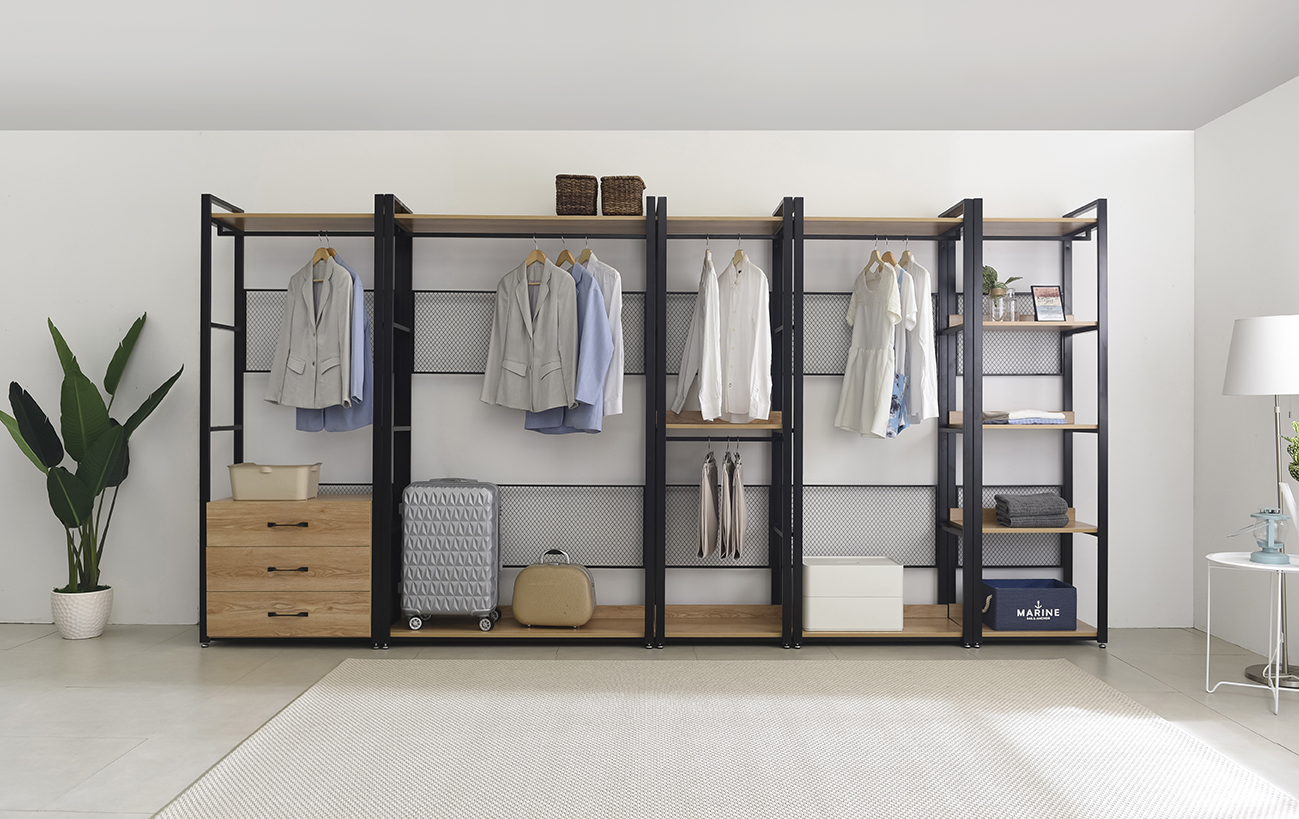 A stretch of Mila Open Modular style Wood and steel Wardrobe